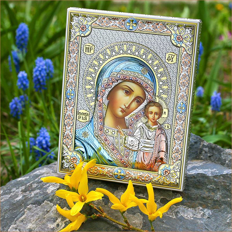 """Посеребренная икона """"Казанская Божья Матерь"""" в подарок на крестины ребенка"""