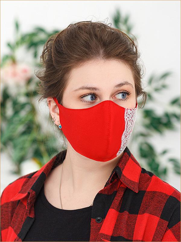 Купить многоразовую маску для лица красного цвета с кружевом