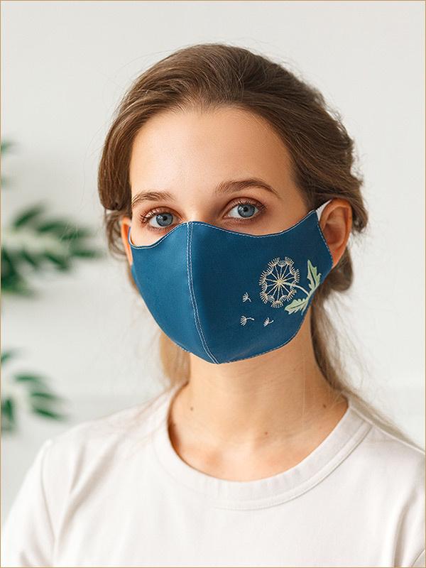 Женская маска Одуванчик на синем