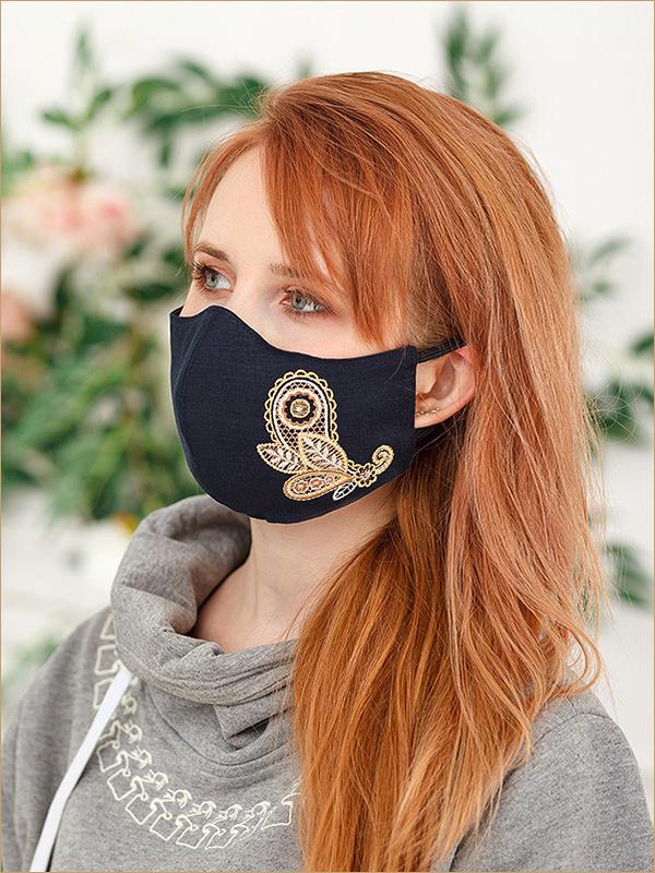 Купить черную маску защитную для лица, многоразовую, вышивка пейсли цветок