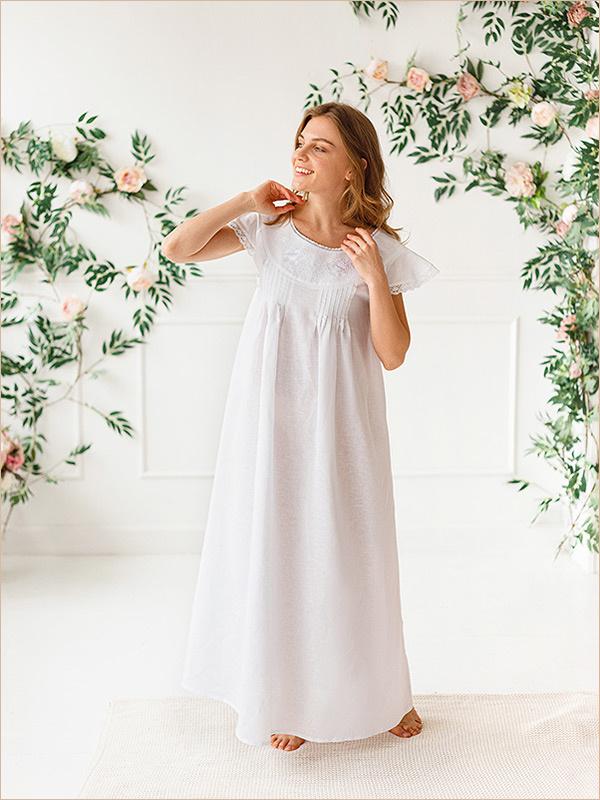 Женская ночная рубашка Белые розы