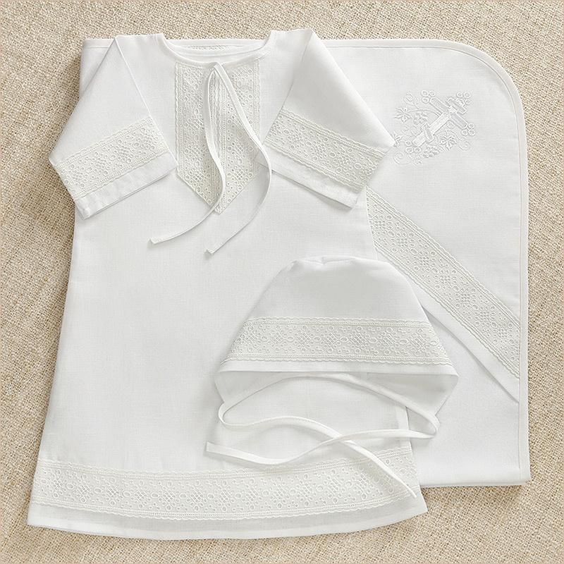 Крестильный набор для мальчика: рубашка, чепчик, пеленка