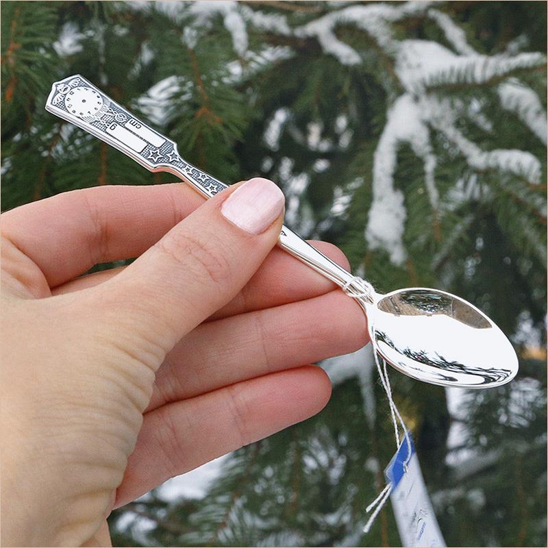 Детская серебряная ложка Час Рождения 925 проба, в наличии