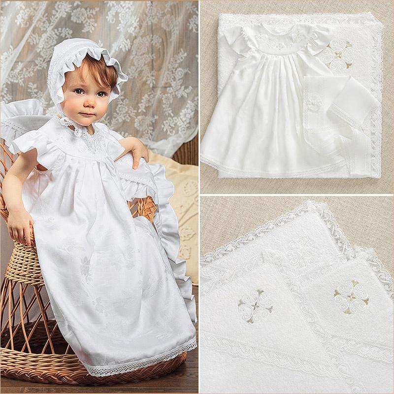 Набор с шелковым крестильным платьем для девочки