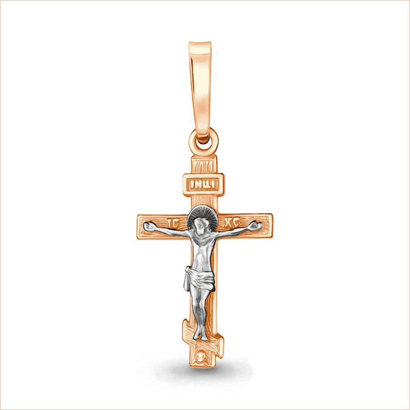 Золотой крестик арт 11422 освящен, детский, женский, двухцветный
