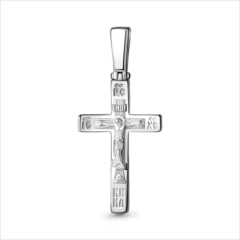 Крестик серебряный строгой формы арт14778, освящен, для ребенка, мальчика