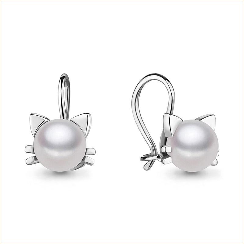 Серебряные сережки Кошечка с жемчугом арт.48911