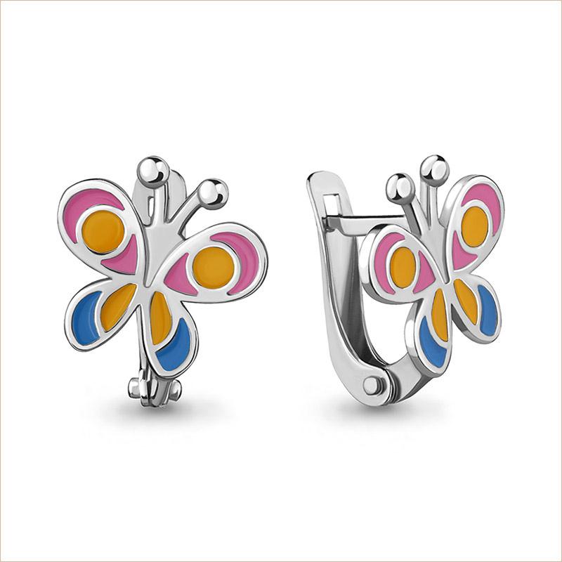 Серебряные сережки Бабочки арт.33136