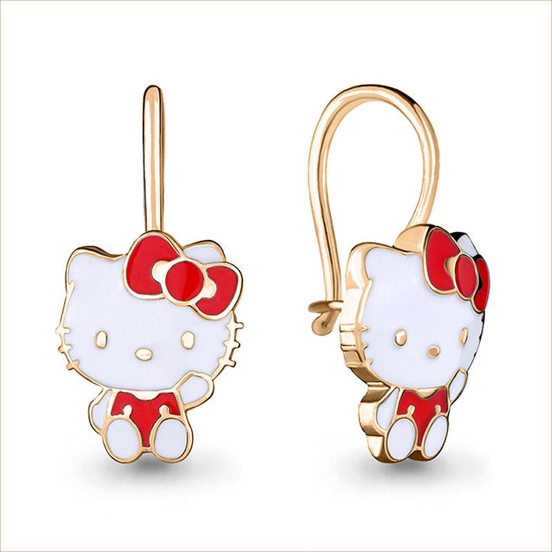 Серебряные сережки Hello Kitty с позолотой арт.33537