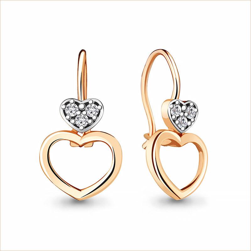 Серебряные сережки Сердечки с позолотой арт.48755А