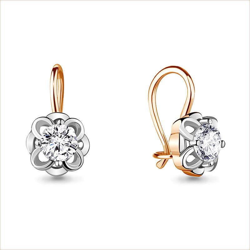 Серебряные сережки с позолотой арт.48645А