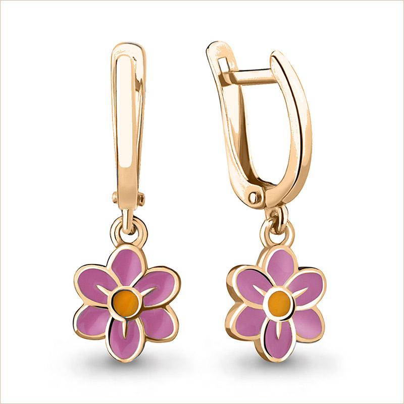 Серебряные сережки Цветочки с позолотой арт.33853