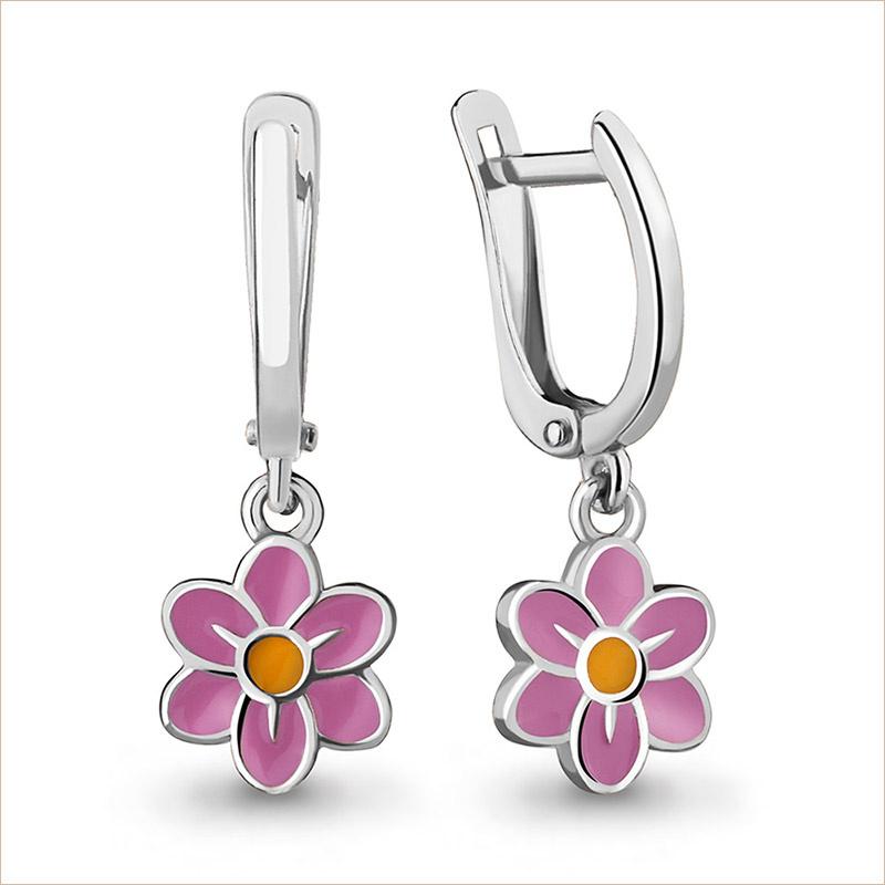 Серебряные сережки Цветочки арт.33853