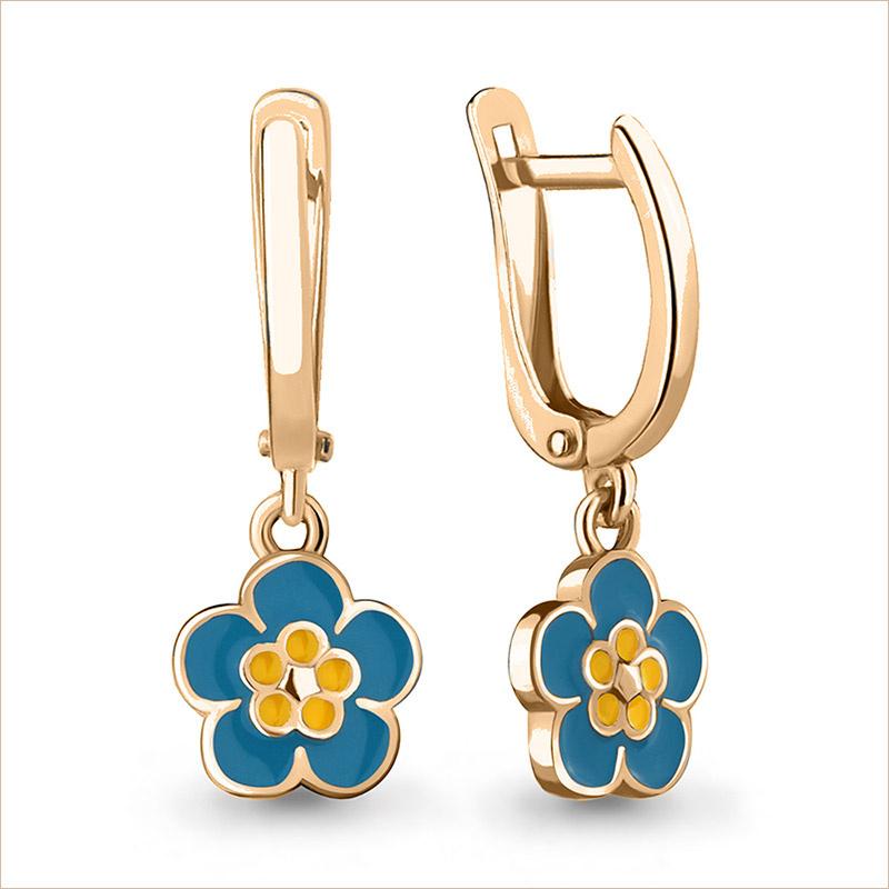 Серебряные сережки Цветочки с позолотой арт.33854