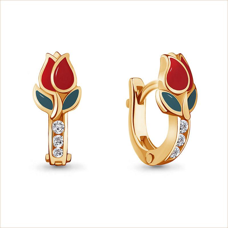 Серебряные сережки Тюльпаны позолота арт.45873А