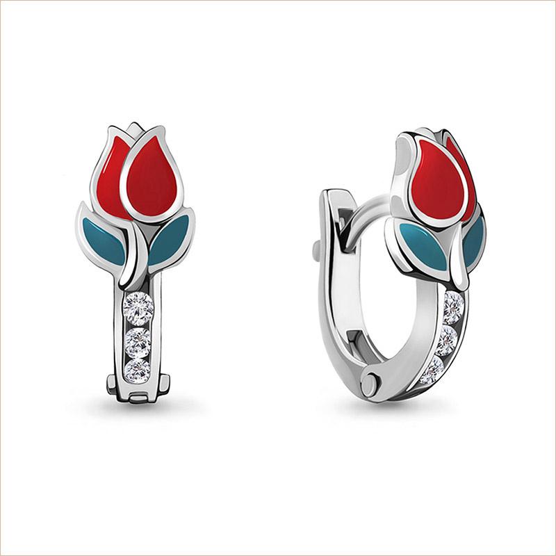 Серебряные сережки Тюльпаны арт.45874А