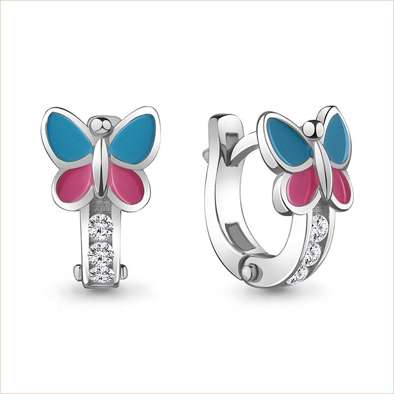 Серебряные сережки Бабочки арт.45875А