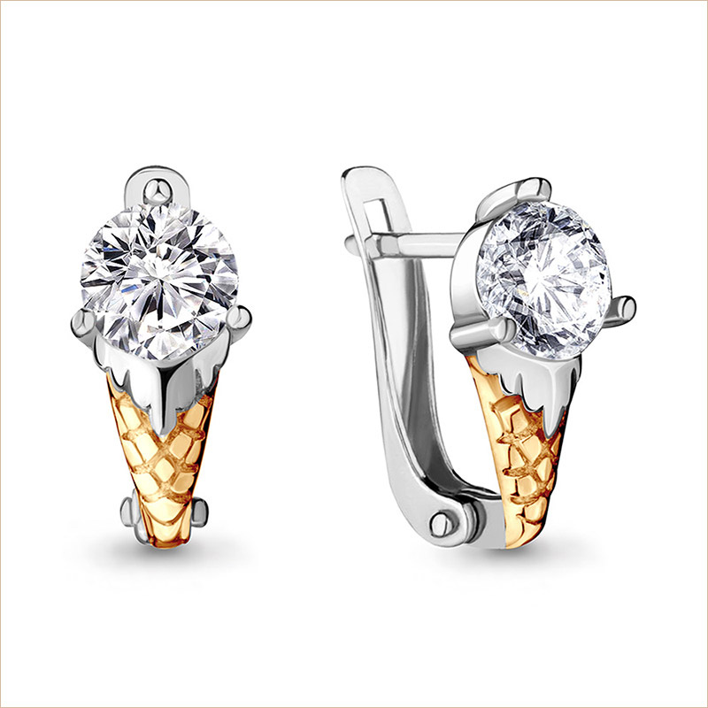 Серебряные сережки Мороженки арт.48013А