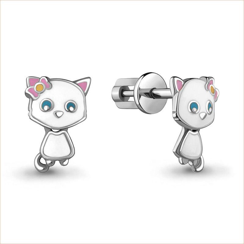 Серебряные сережки Котята арт.33341