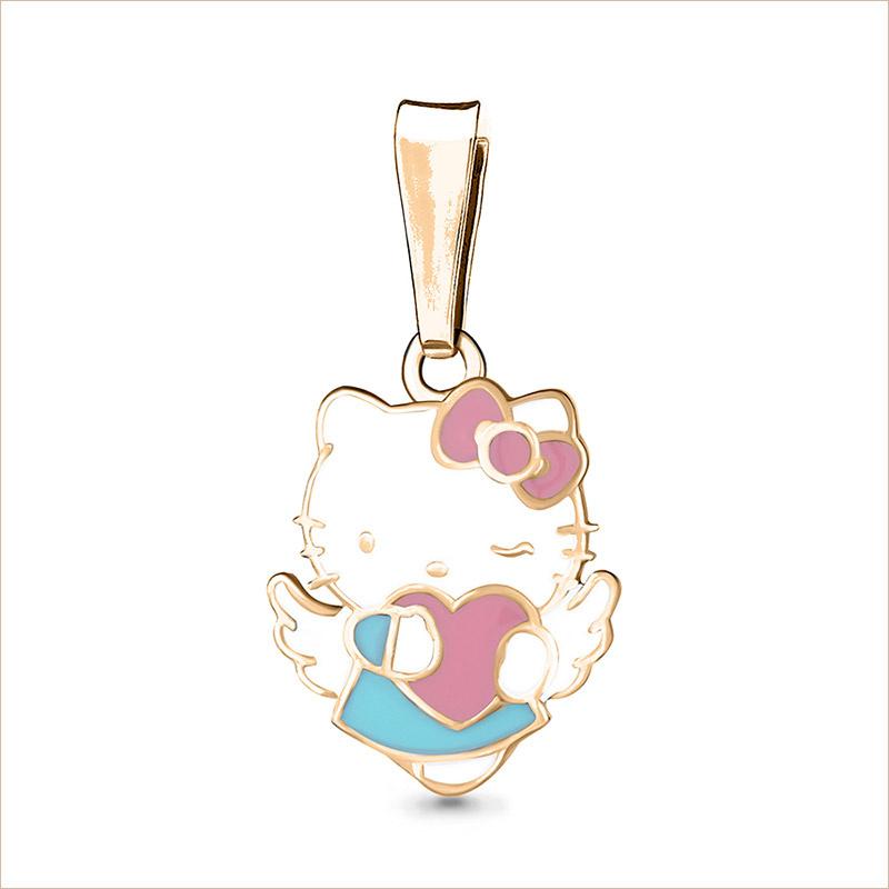 Серебряная подвеска Hello Kitty с сердечком арт.15081, позолота