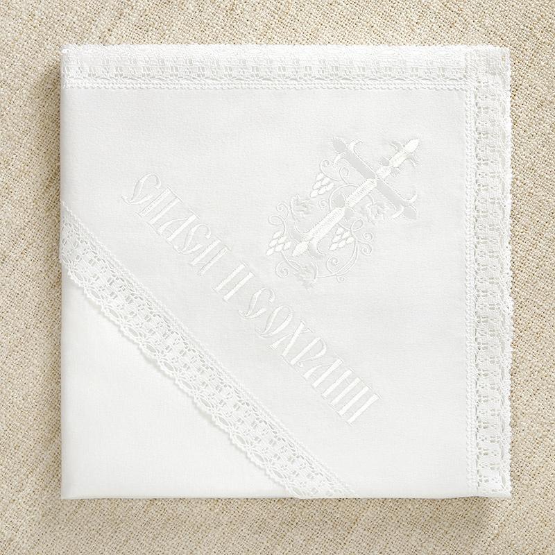 Крестильная пеленка с капюшоном Белая лоза