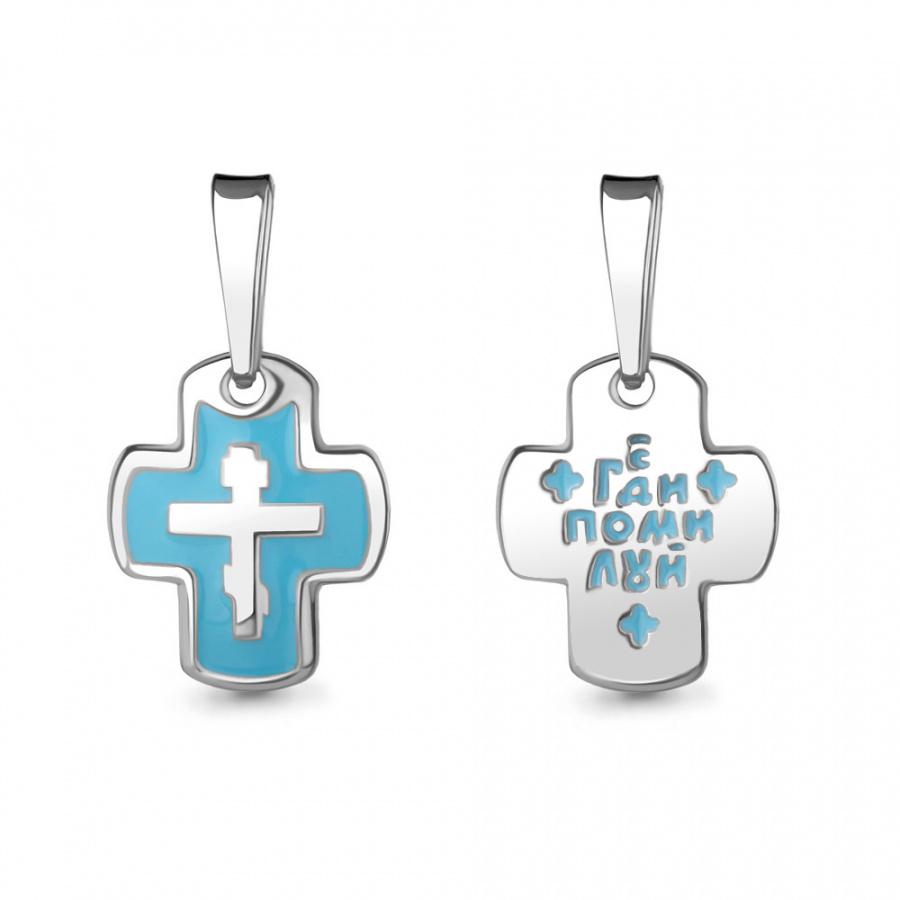 Крестик серебряный с голубой эмалью арт.14788