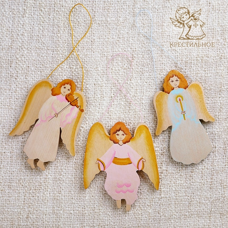 подвеска из дерева ангел