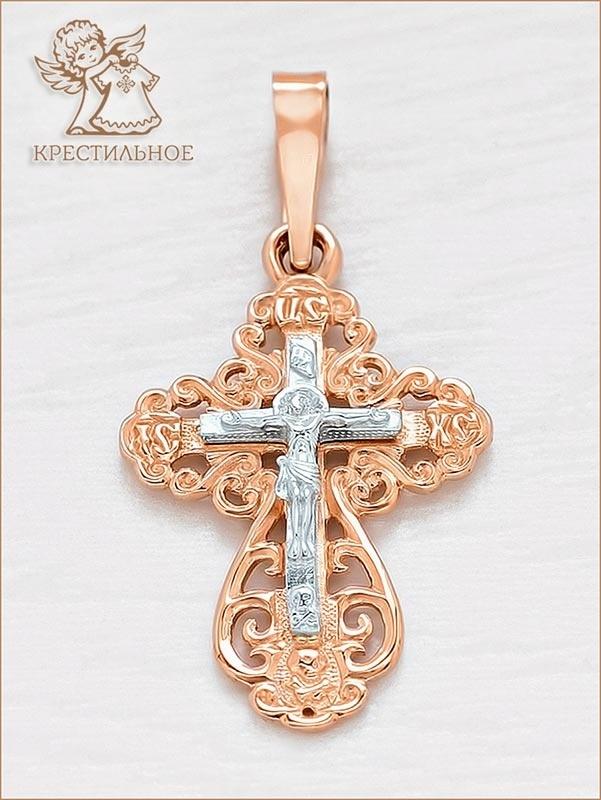 крестик в комбинированном золоте, арт.11164