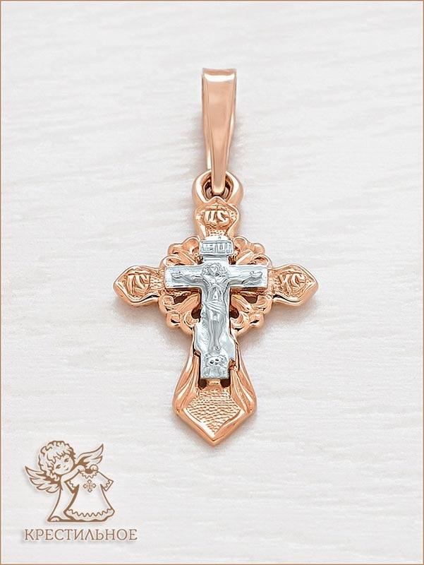 золотой крестик в комбинированном варианте арт.11157