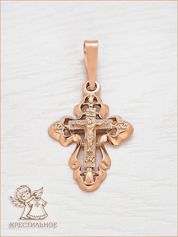 крестик в красном золоте арт.12159