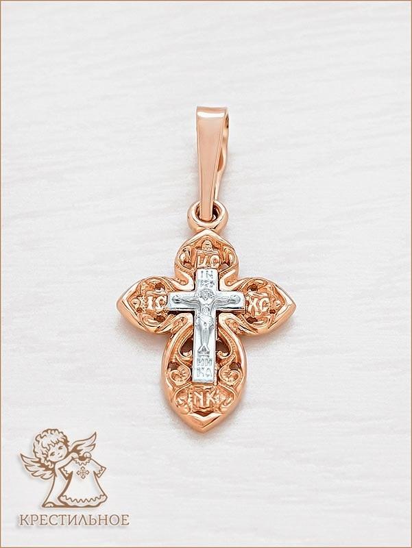 золотой крестик для крещения арт.11979