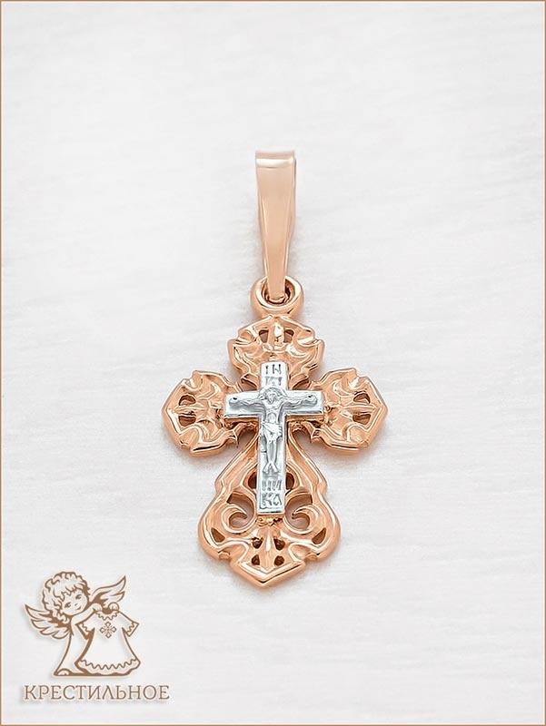 золотой крестик завод Аквамарин арт.11996