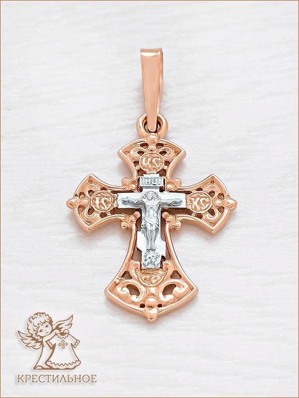 золотой крестик арт.11434 завод аквамарин