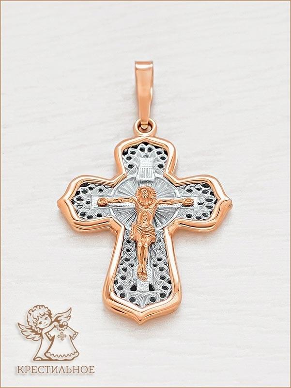 большой крестик из золота арт.12694