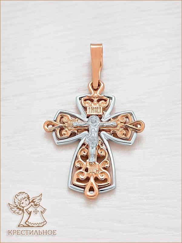 крест из красного и белого золота арт.12549 Аквамарин
