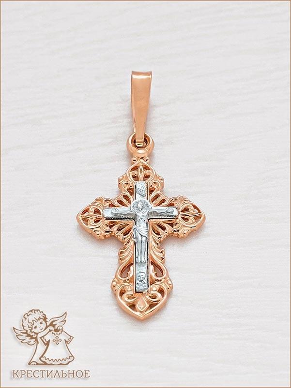 крестик из красного золота с распятием из белого арт.11170