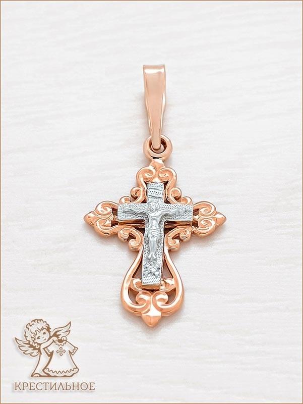 ажурный золотой крестик арт.11964