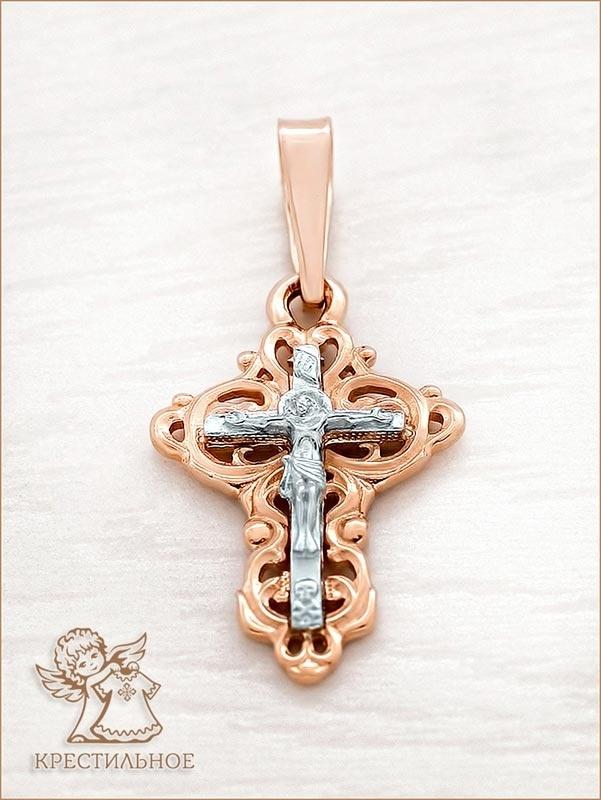 золотой с белым крестик арт.11425