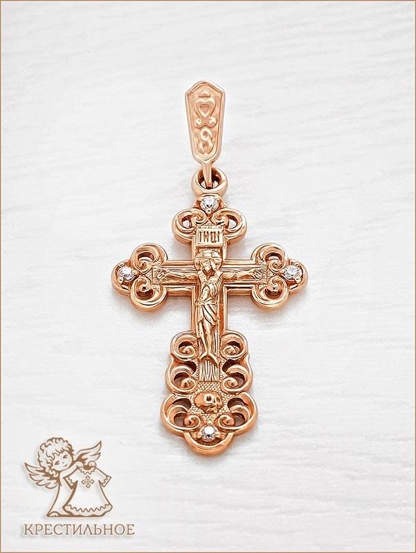 золотой крестик с фианитами арт.35045