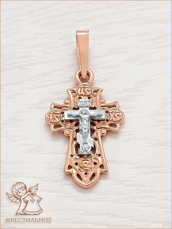 крупный крест из комбинированного золота, арт.11007