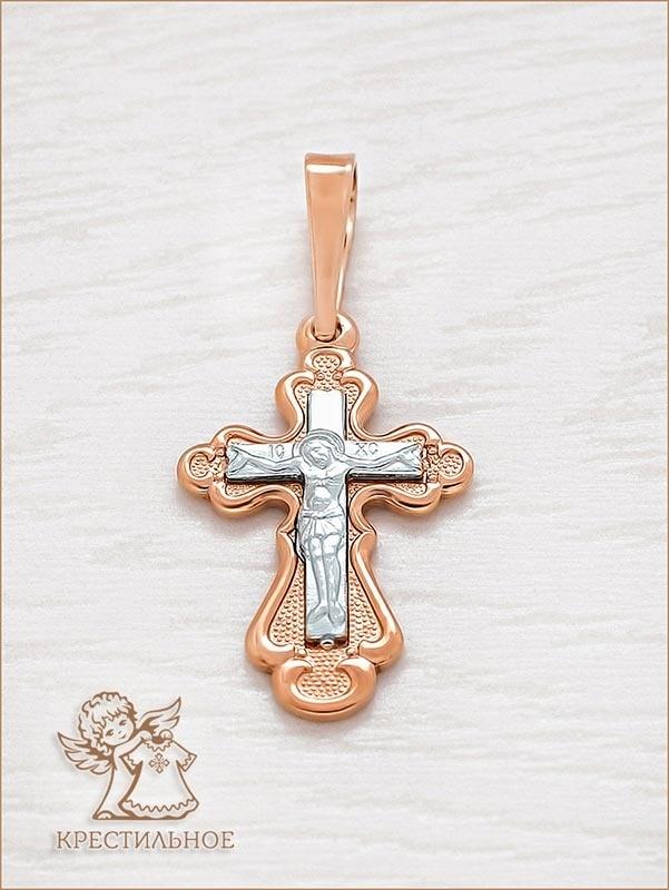 крест из красного и белого золота, арт.10003