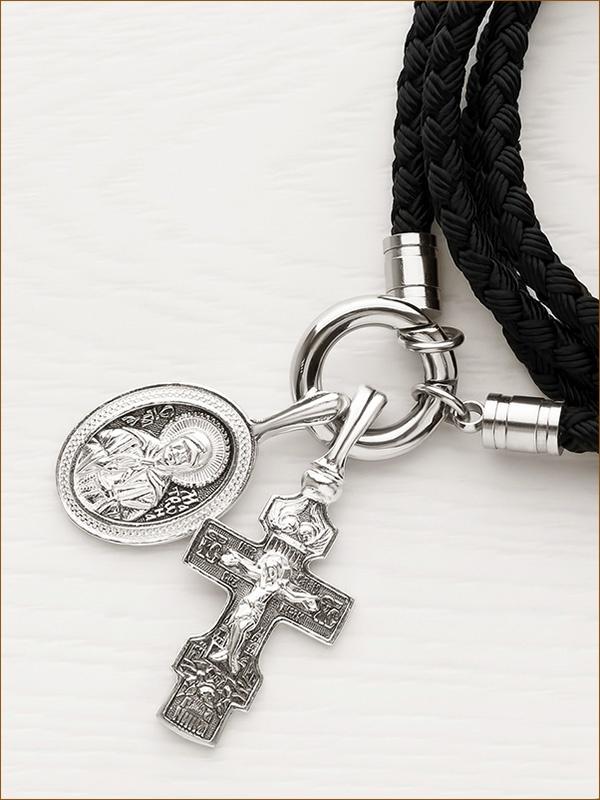 серебряный образок Матроны на гайтане с кольцом
