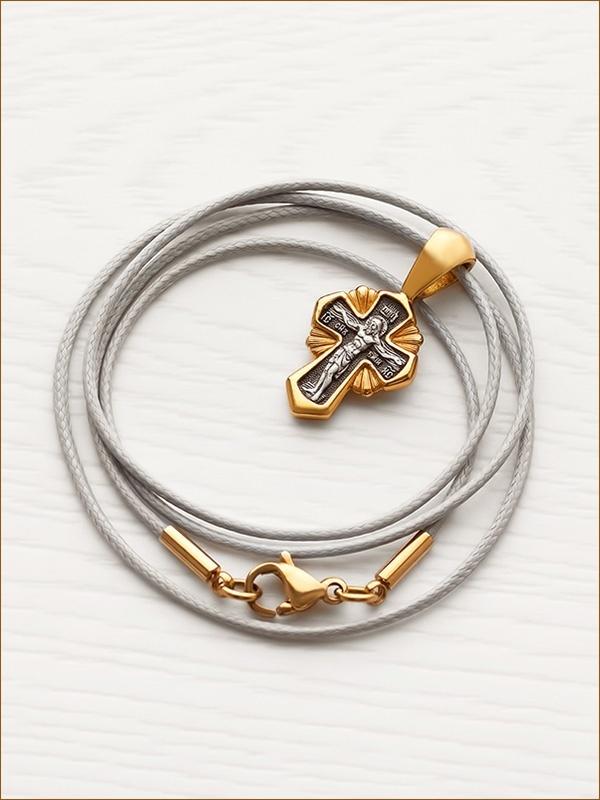 крестик из серебра с позолотой арт.08150 и гайтан с позолоченной застежкой