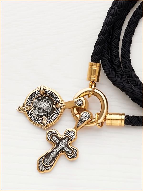 Крестик с чернением и позолотой арт.08083