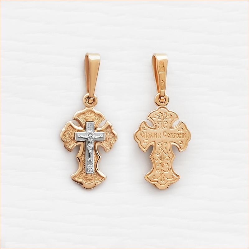 золотой крестик арт.10004 комбинированное золото