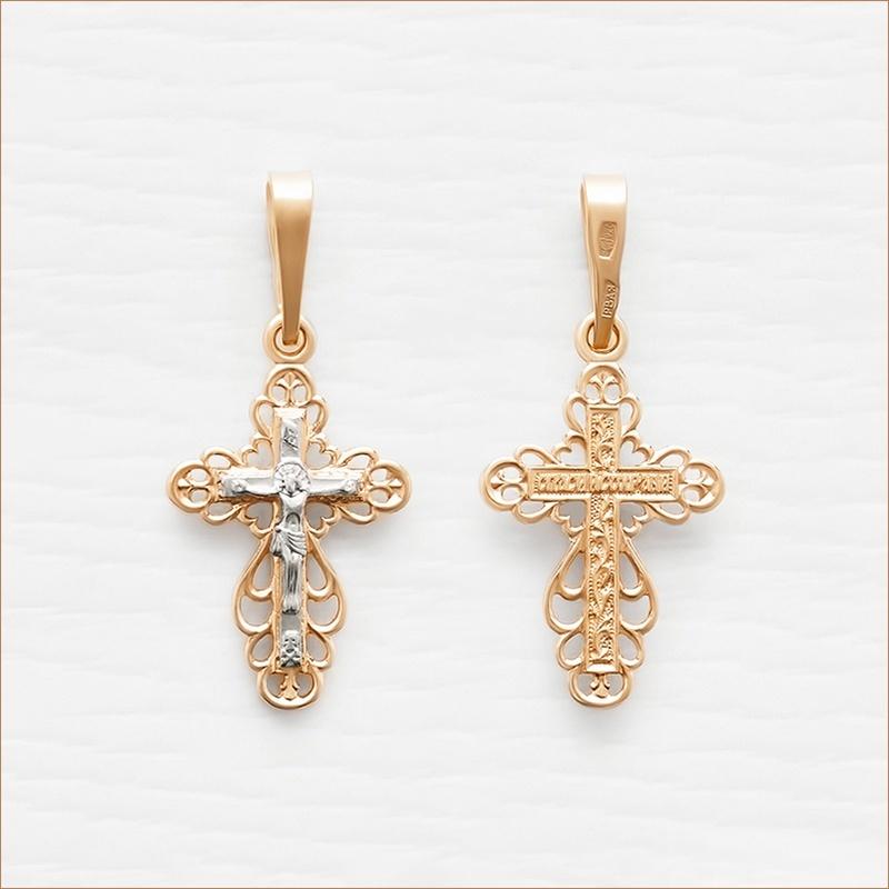 крестик комбинированное золото 10327
