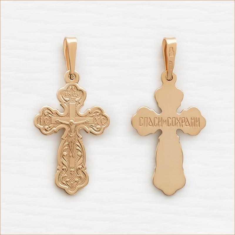 православный золотой крестик большой арт.10437