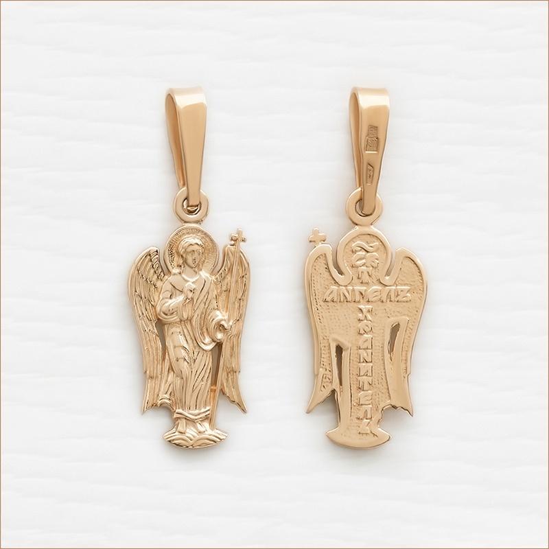 золотая подвеска ангел-хранитель арт.11004