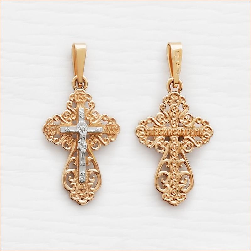 ажурный серебряный крестик с позолотой арт.11164