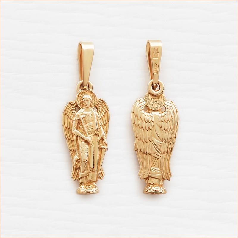 кулон ангел-хранитель из красного золота